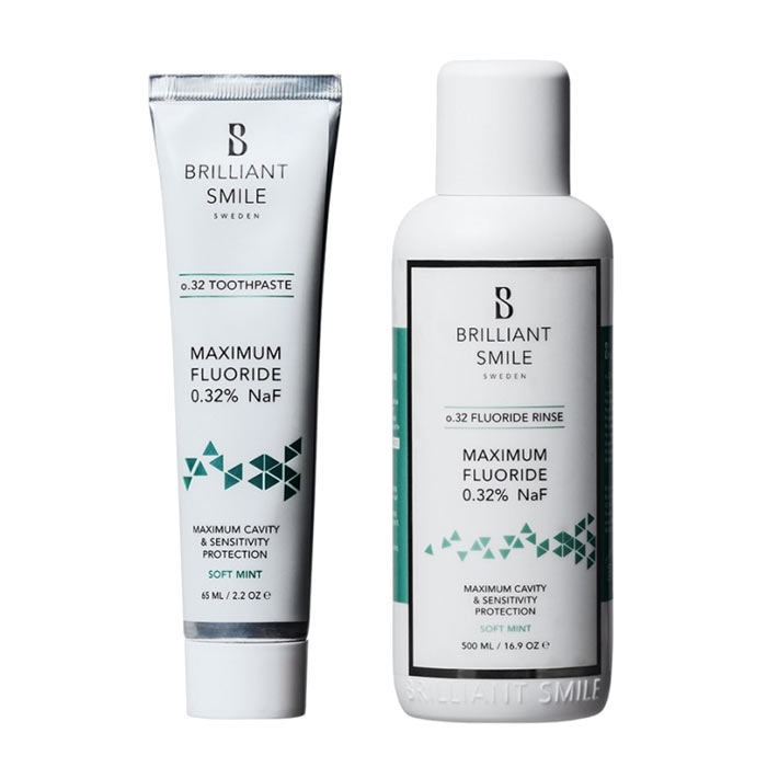 2-pack Brilliant Smile o.32 Toothpaste 65ml + Flouride Rinse 500ml