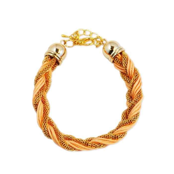 Armband Braided Gold Pink