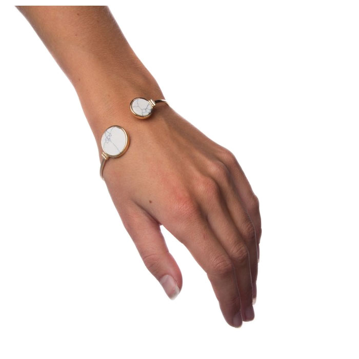 Swish Armband White Marble - Circle