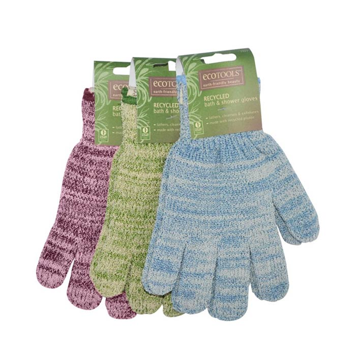 Eco Tools Recycled Bath And Shower Gloves Blue