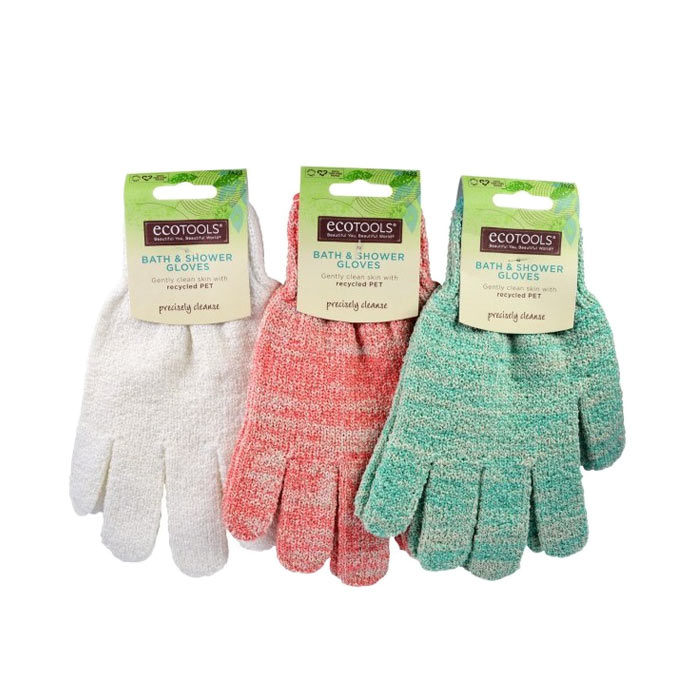 Eco Tools Recycled Bath And Shower Gloves Coral