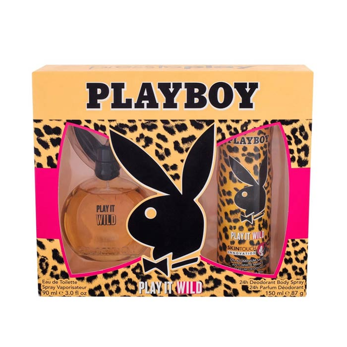 Giftset Playboy Play It Wild Female Edt 90ml + DSP 150ml