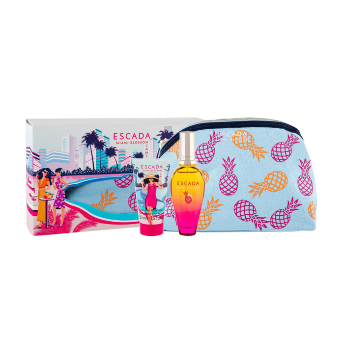 Giftset Escada Miami Blossom Edt 50ml + BL 50ml + Cosmetic Bag