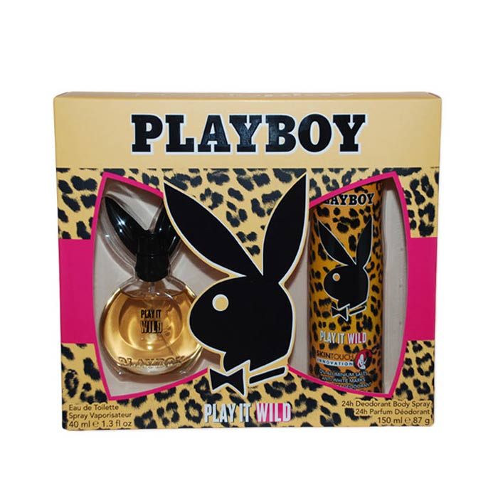 Giftset Playboy Play It Wild Female Edt 40ml + DSP 150ml