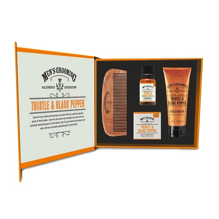 Giftset Scottish Fine Soaps Thistle & Black Pepper Face & Beard Care Kit