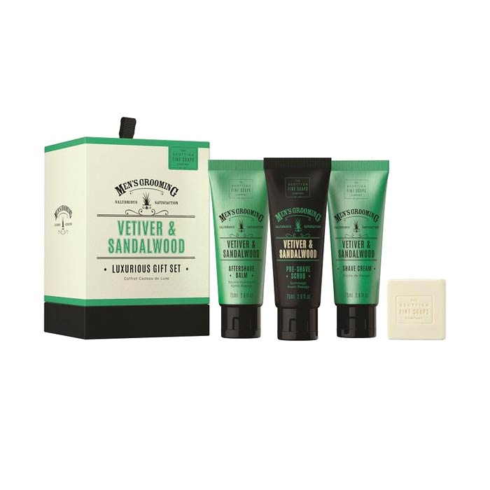 Giftset Scottish Fine Soaps Vetiver & Sandalwood Luxurious Gift Set