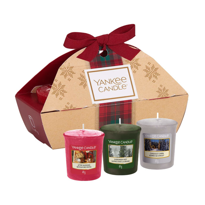 Giftset Yankee Candle 3 Votive After Sledding Evergreen Mist Candlelit Cabin