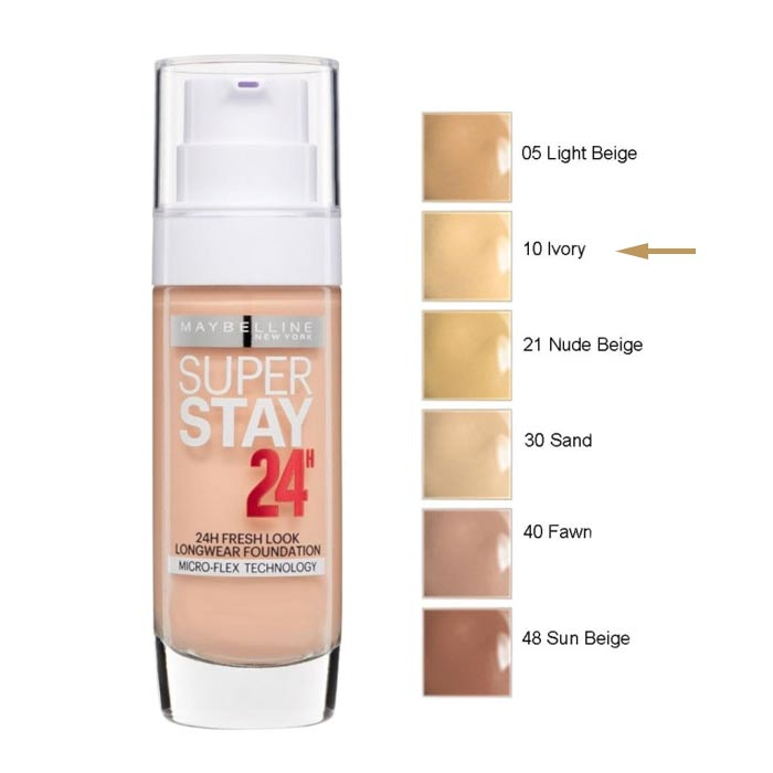 Maybelline SuperStay 24H Foundation 30ml 10 Ivory
