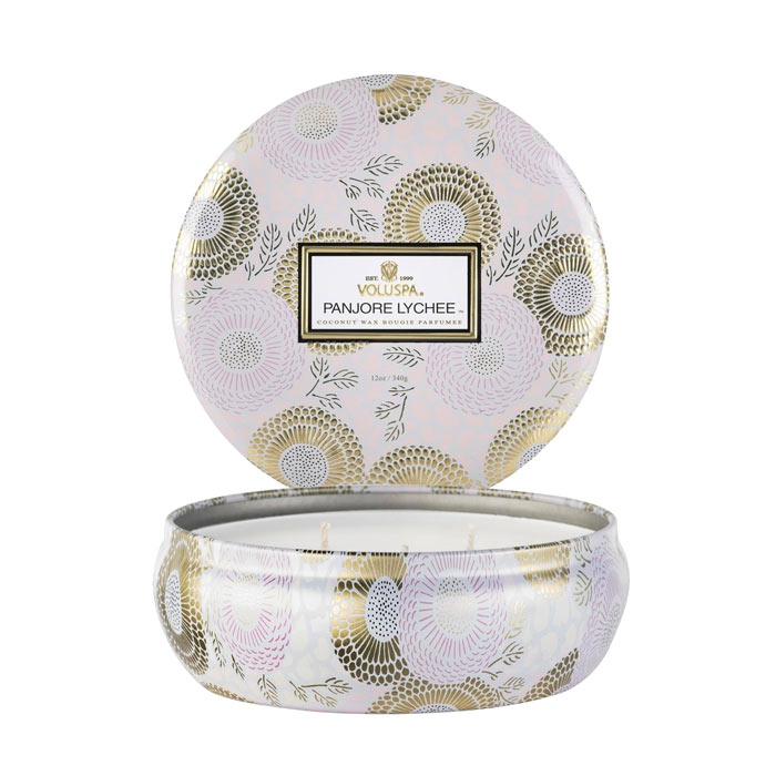 Voluspa 3-Wick Candle Decorative Tin Panjore Lychee 340g