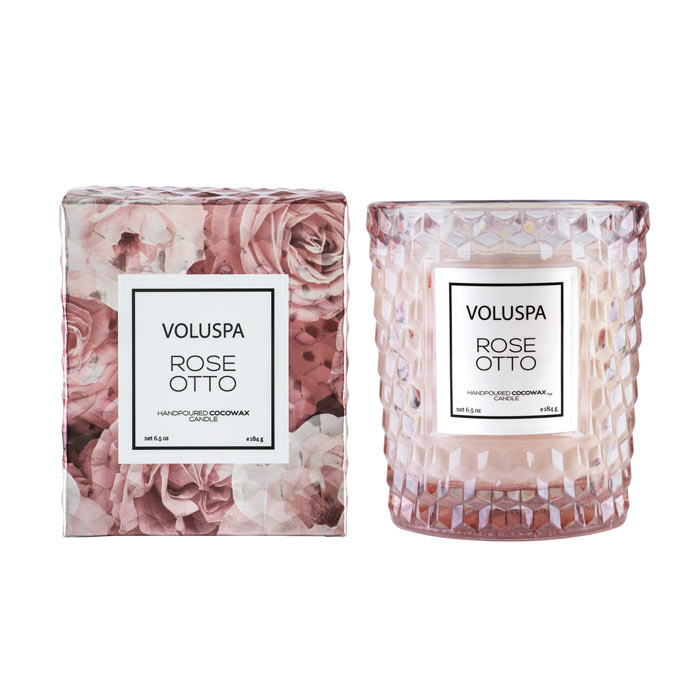 Voluspa Roses Boxed Textured Glass Candle Rose Otto 184g
